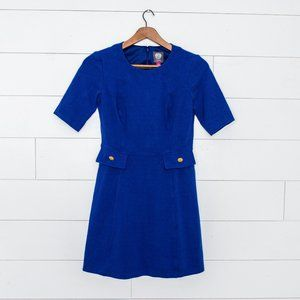 Vince Camuto Cobalt Blue Midi with gold buttons